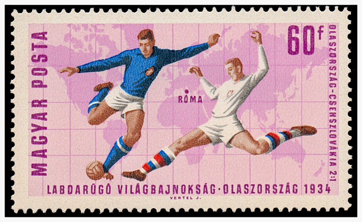 Sello postal húngaro de 1966 sobre la final de la Copa Mundial de Fútbol: Italia 1934.